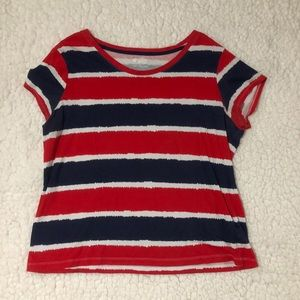Red white and blue stripped tee shirt 🇺🇸